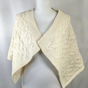 Wool Blend~Cable Knit~Wrap~Shawl~Ivory~Lambswool~